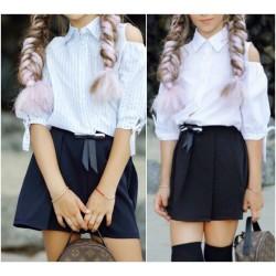 Детская школьная юбка-шорты 13627A
