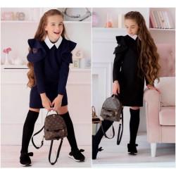 Детское школьное платье с сеткой 13631A