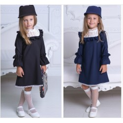 Детское школьное платье с кружевом 13662A