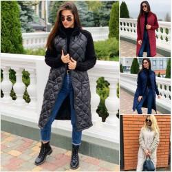 Женское стеганное пальто плащевка 13802A