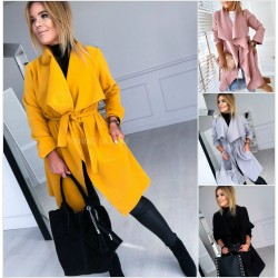 Женское кашемировое пальто на запах 13811A