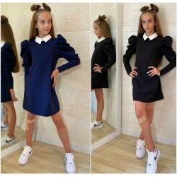 Детское школьное платье с воротником 13815A