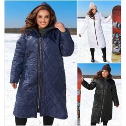 Женское стеганное пальто плащевка Батал 14058A