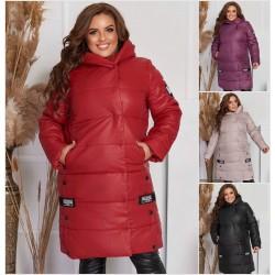 Женская длинная куртка с капюшоном Батал 14089A