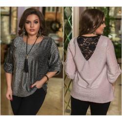 Женская нарядная блуза с кружевом Батал 14095A
