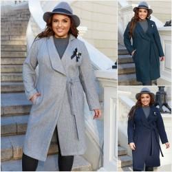 Женское кашемировое пальто Батал 14147A