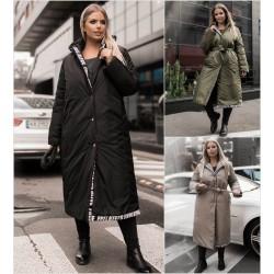 Женское зимнее пальто с капюшоном Батал 14165A