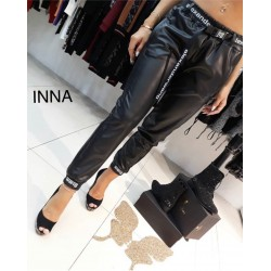 Женские брюки на флисе Экокожа 14176A