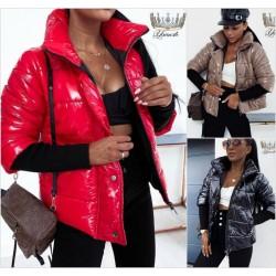 Женская блестящая куртка с вязаными рукавами 14224A