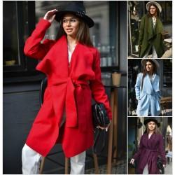 Женское кашемировое пальто на запах 14316A