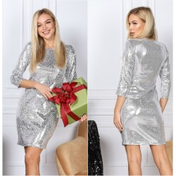 Нарядное короткое платье в пайетку 14426A