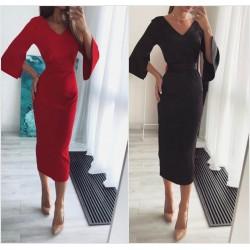 Облегающее платье миди с поясом 14474A