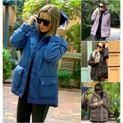Женская свободная куртка с карманами 14488A
