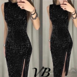 Вечернее платье в пайетку с разрезом 14510A