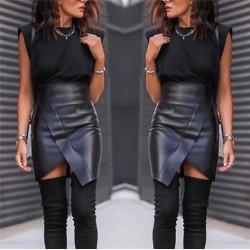 Женская короткая юбка Экокожа 14561A