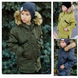 Подростковая куртка для мальчиков с мехом на капюшоне 11618A