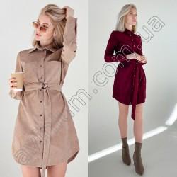 Вельветовое платье-рубашка с поясом 14772A