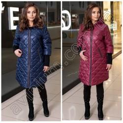 Женское удлиненная куртка на змейке Батал 14742A