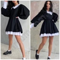 Свободное платье с воротником 14878A