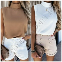 Женская летняя блуза с воротником 14940A
