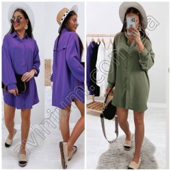Стильное платье-рубашка на пуговицах 15025A