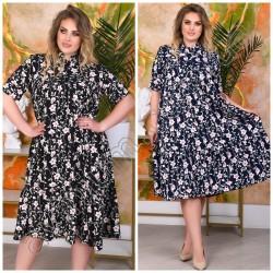 Летнее цветочное платье Батал 15074A