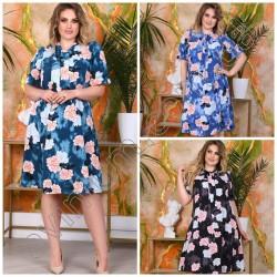 Летнее цветочное платье Батал 15076A