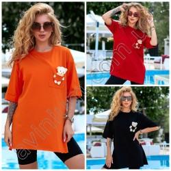 Женская удлиненная футболка с разрезами 15149A