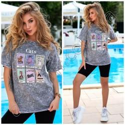 Женская коттоновая футболка Принт 15150A