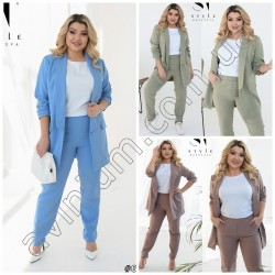 Женский костюм пиджак с брюками Батал 15181A