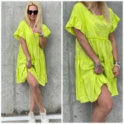 Свободное льняное платье с рюшами 15224A