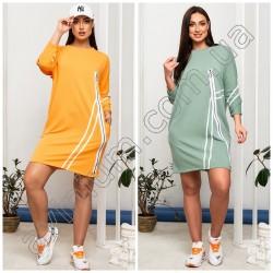 Свободное платье-туника с карманами Батал15207A