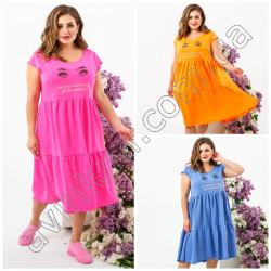 Летнее свободное платье Батал 15280A