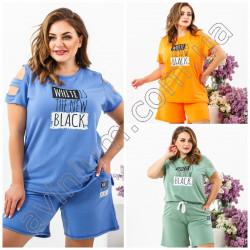 Женский костюм футболка с шортами Батал 15310A