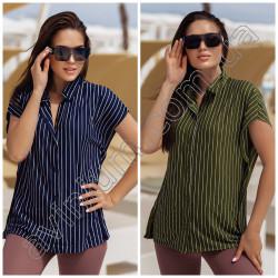Женская льняная рубашка в полоску 15230A