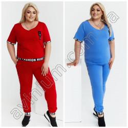 Женский костюм футболка со штанами Батал15232A