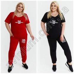 Женский костюм футболка со штанами Батал15235A