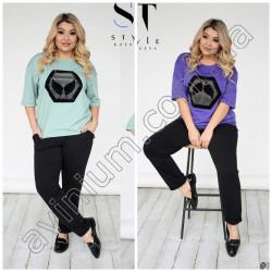 Женский костюм футболка со штанами Батал15258A