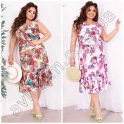 Летнее цветочное платье миди Батал 15363A