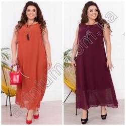 Летнее длинное шифоновое платье Батал 15364A