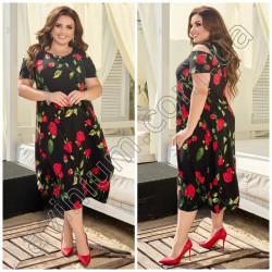 Летнее цветочное платье Батал 15418A
