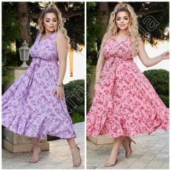 Летнее цветочное платье Батал 15432A