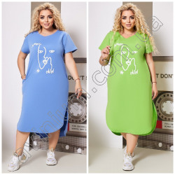 Летнее свободное платье Батал 15443A