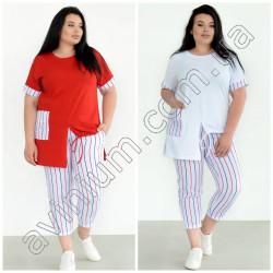 Женский костюм футболка с брюками Батал 15286A