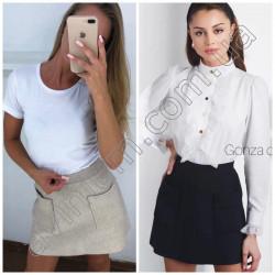 Короткая ангоровая юбка с карманами 15620A