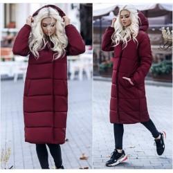 Женское стеганое пальто с капюшоном 11906A