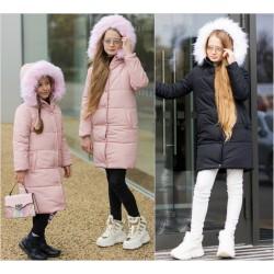 Подростковая зимняя куртка с мехом на капюшоне 11983A