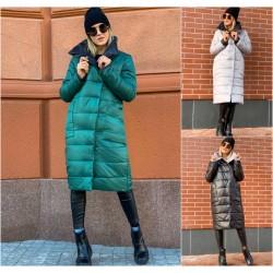 Женское длинное пальто плащевка 12073A
