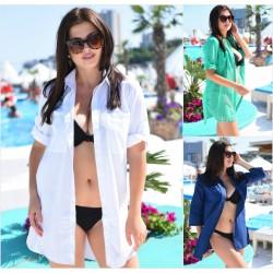Пляжная накидка-рубашка Батал 11060-1A