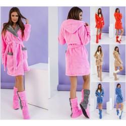 Женский махровый халат с сапожками 12213A
